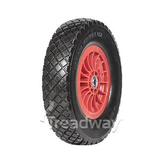 "Wheel 400-8"" Plastic Red 1"" FB Rim 400-8 Solid PU Tyre W108"