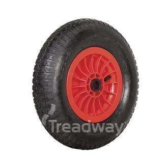 "Wheel 2.50-8"" Plastic Red 1"" Bush Rim 480/400-8 4ply Barrow Tyre W110 Deestone"