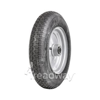 "Wheel 8"" Silver 1"" FB Rim 480/400-8 4ply Barrow Tyre W110 Deestone"